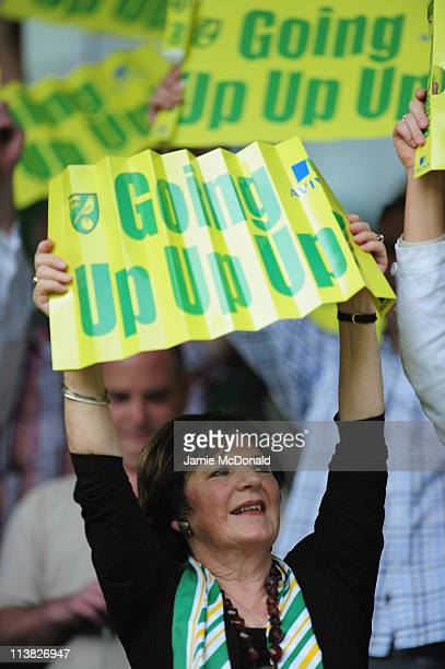 Chairwoman of Norwich City Delia Smith looks on during the npower Championship match between Norwich City and Coventry City at Carrow Road on May 7,...