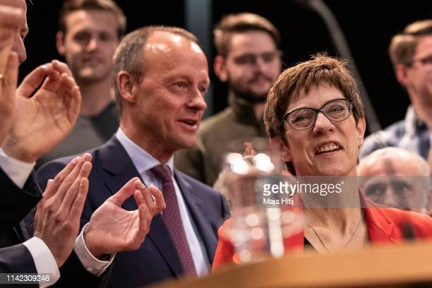 Chairwoman of the German Christian Democrats Annegret KrampKarrenbauer and Friedrich Merz attend CDU European Elections Campaign launch on April 12...