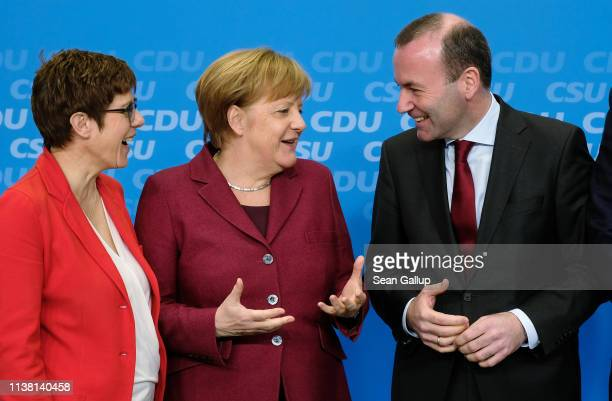 Chairwoman of the German Christian Democrats Annegret KrampKarrenbauer German Chancellor Angela Merkel and CDU/CSU European elections lead candidate...