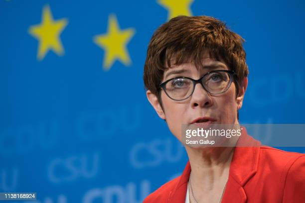 Chairwoman of the German Christian Democrats Annegret Kramp-Karrenbauer speaks to the media along with CDU/CSU European elections lead candidate...