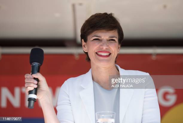 Chairwoman of the SPOe Pamela Rendi Wagner delivers a speech during an election campaign for the European elections in Vienna Austria on May 25 2019