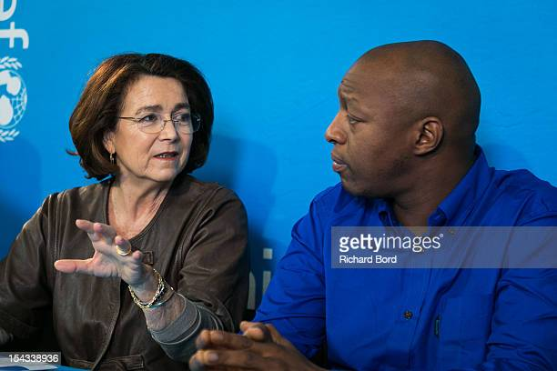 Chairwoman of Unicef France Michele Barzach and rapper Oxmo Puccino attend the press conference for the nomination of Oxmo Puccino as Ambassador for...