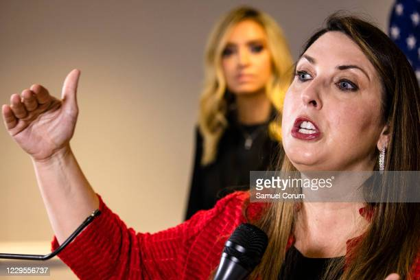 Chairwoman Ronna McDaniel speaks during a press conference alongside White House Press Secretary Kayleigh McEnany and Trump Campaign General Counsel...