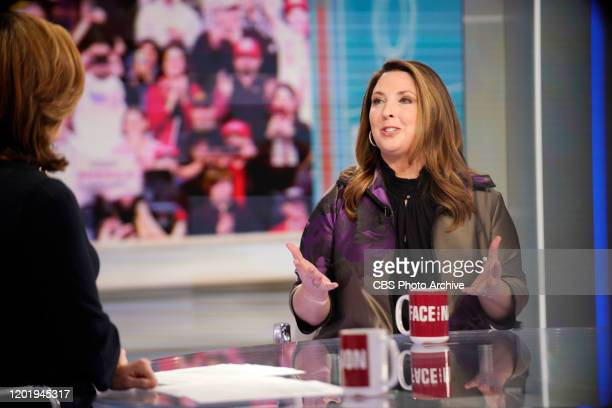 Chairwoman Ronna McDaniel talks with Margaret Brennan on Face the Nation in Washington DC February 20 2020
