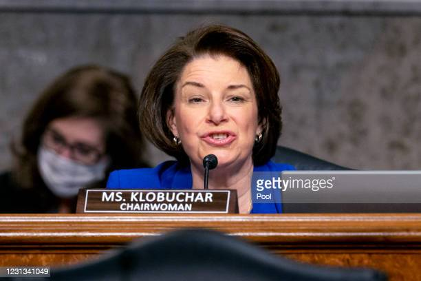 Chairwoman Senator Amy Klobuchar speaks during a Senate Homeland Security and Governmental Affairs & Senate Rules and Administration joint hearing on...