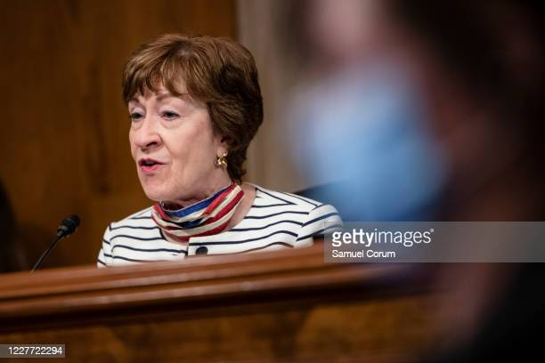 Chairwoman Senator Susan Collins speaks during a Senate Special Committee of Aging hearing on The COVID-19 Pandemic and Seniors: A Look at Racial...