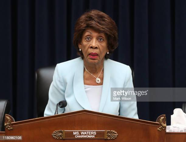 Chairwomen Maxine Waters questions Treasury Secretary Steven Mnuchin, during a House Financial Services Committee hearing on Capitol Hill May 22,...