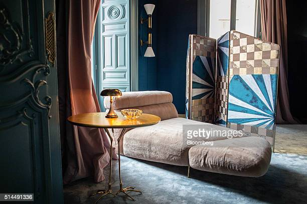 A chaise longue sits in the Palazzo Prive a salon for top clients and VIPs at Palazzo Fendi Fendi SpA's restored flagship store and private suites...