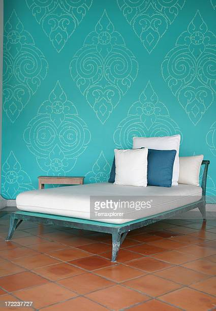chaise with pillows - chaise longue stock photos and pictures