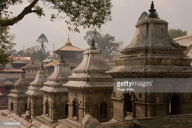 chaityas of pashupatinath (kathmandu, nepal) - pashupatinath stock pictures, royalty-free photos & images
