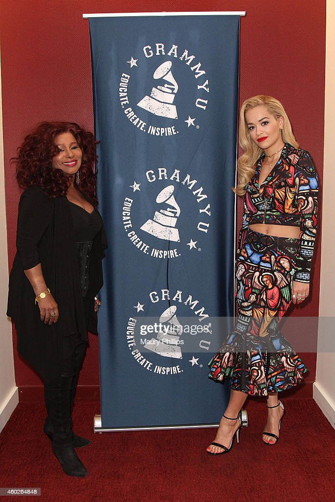 Chaka Kahn and Rita Ora attend GRAMMY U Off The Record With Chaka Kahn at The Recording Academy on December 9, 2014 in Los Angeles, California.