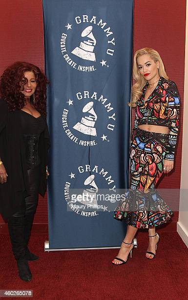 Chaka Kahn and Rita Ora attend GRAMMY U Off The Record With Chaka Kahn at The Recording Academy on December 9 2014 in Los Angeles California