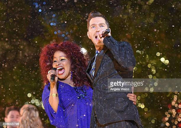 Chaka Khan and Andy Grammer attend ABC's 'Dancing With The Stars' Season Finale hosted by The Grove at The Grove on November 24 2015 in Los Angeles...