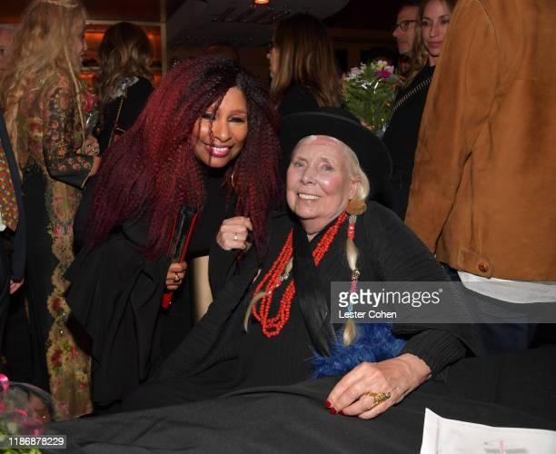 Chaka Khan and Joni Mitchell attend the Jazz Foundation honors Joni Mitchell And Wayne Shorter at Vibrato on November 10, 2019 in Los Angeles,...