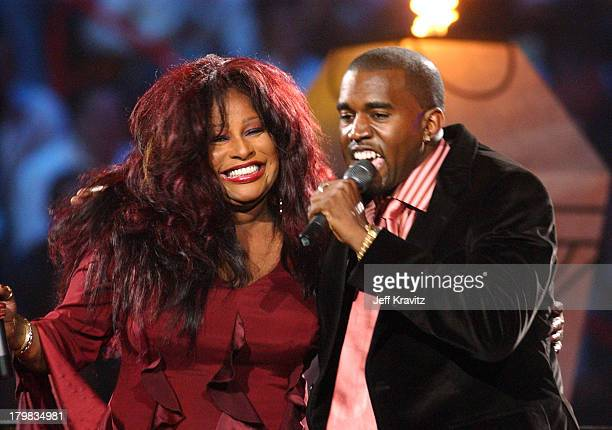 Chaka Khan and Kanye West during MTV VMA NEWSPAPER HANDOUTS at American Airlines Arena in Maimi Florida United States