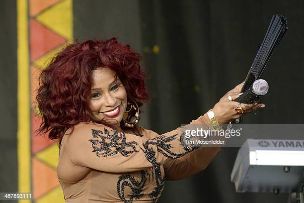 Chaka Khan performs during Day 5 of the 2014 New Orleans Jazz Heritage Festival at Fair Grounds Race Course on May 2 2014 in New Orleans Louisiana