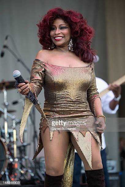 Chaka Khan performs on stage at Petrillo Music Shell on July 14 2012 in Chicago Illinois