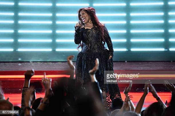 Chaka Khan performs onstage during the 2016 VH1's Divas Holiday Unsilent Night at Kings Theatre on December 2 2016 in New York City