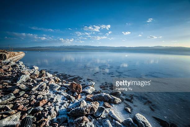 Chaka Salt Lake, with the word 'love' composed by pebbles at lake bottom