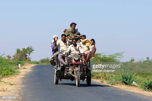 CONTENT] Chakdas are Gujarati motorcycle rickshaws seen here in the Little Rann of Kutch on MARCH 14 near Dhrangadhra Gujarat India The unidentified...