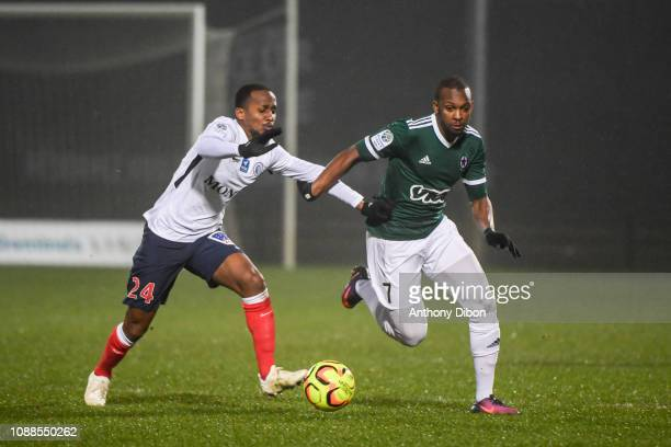 Chaker Alhadhur of Chateauroux and Amadou Diallo of Red Star during the Ligue 2 match between Red Star and Chateauroux at Stade Pierre Brisson on...