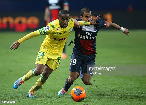 Chaker Alhadhur of Nantes and Lucas Moura of PSG in action during the french Ligue 1 match between Paris SaintGermain FC and FC Nantes at the Parc...