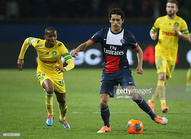 Chaker Alhadhur of Nantes and Marquinhos of PSG in action during the french Ligue 1 match between Paris SaintGermain FC and FC Nantes at the Parc des...