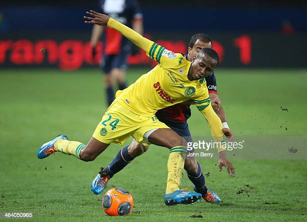 Chaker Alhadhur of Nantes in action during the french Ligue 1 match between Paris SaintGermain FC and FC Nantes at the Parc des Princes stadium on...