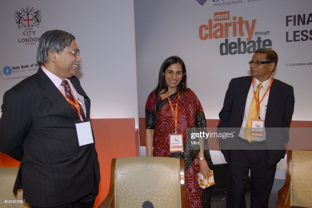 K C Chakrabarthy CMD of Punjab National Bank Chanda Kochchar Joint MD of ICICI Bank Tamal Bandyopadhyay Beurau Chief of MINT Mumbai speak after the...