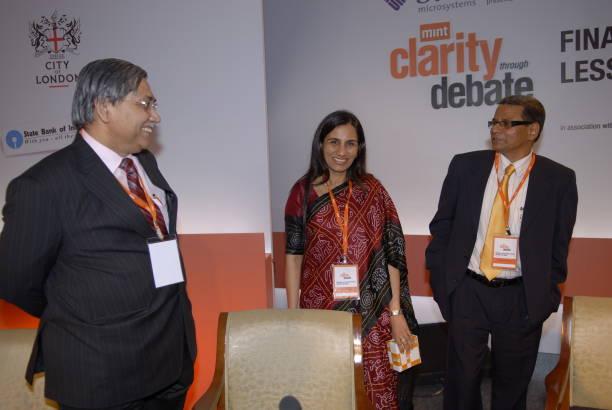 K C Chakrabarthy CMD of Punjab National Bank Chanda Kochchar Joint MD of ICICI Bank Tamal Bandyopadhyay Beurau Chief of MINT Mumbai speak after the...