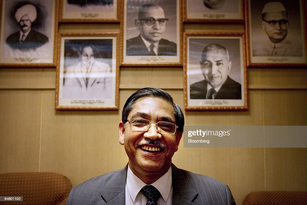 C Chakrabarty chairman and managing director of Punjab National Bank poses for a picture in the Punjab National Bank board room in New Delhi India on.