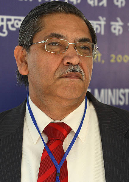 C Chakrabarty chairman and managing director of Punjab National Bank Ltd attends a meeting with chief executives of Public Sector Banks and...