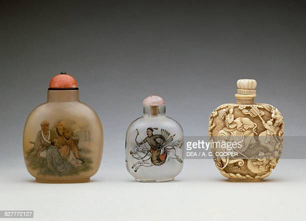 Chalcedony and ivory snuff bottles China 20th century