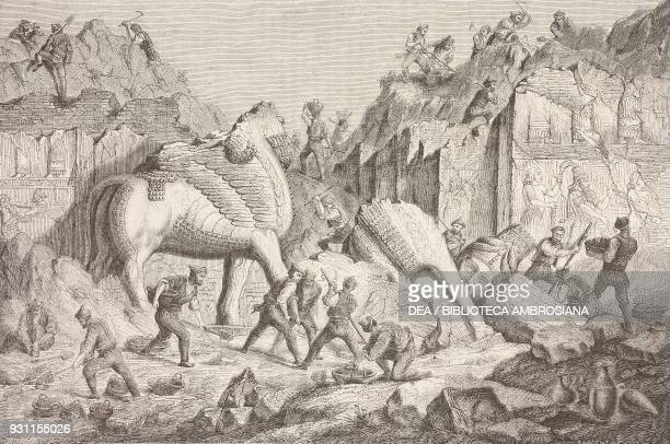Chaldean workers working on the excavations of ancient Nineveh Khorsabad Iraq drawing by Regis from Journey to Mesopotamia 18401842 by Eugene Flandin...