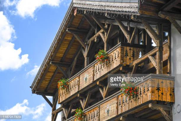 chalet in the french alps - chalet stock pictures, royalty-free photos & images
