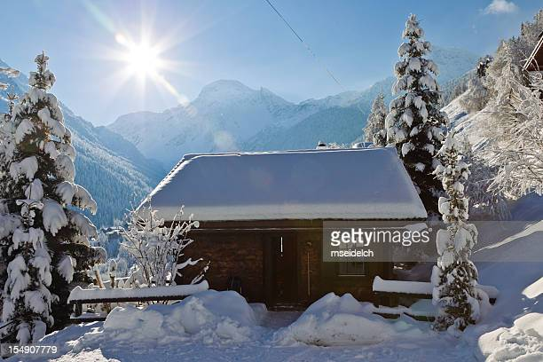 chalet in the swiss alps mountains - valais canton stock pictures, royalty-free photos & images