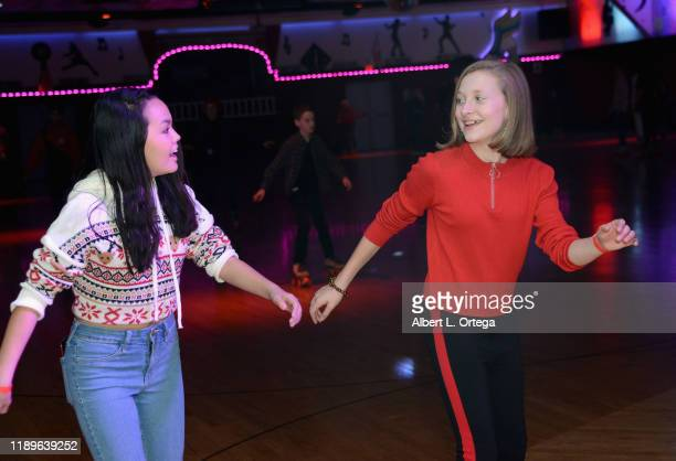 Chalet Lizette Brannan and Peyton Noga attend The Couch Sisters 1st Annual Toys For Tots Toy Drive held onNovember 20 2019 in Glendale California