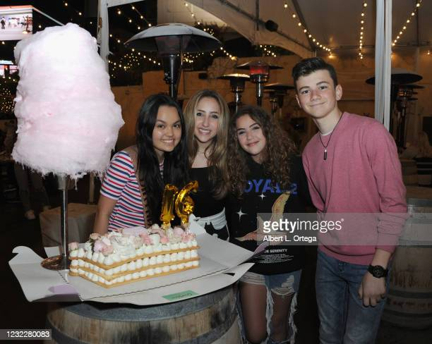 Chalet Lizette Brannan, Ava Kolker, Lexy Kolker and Alexander James Rodriguez attend Brannan's Sweet 16 Birthday Party at Saddle Ranch Chop House on...