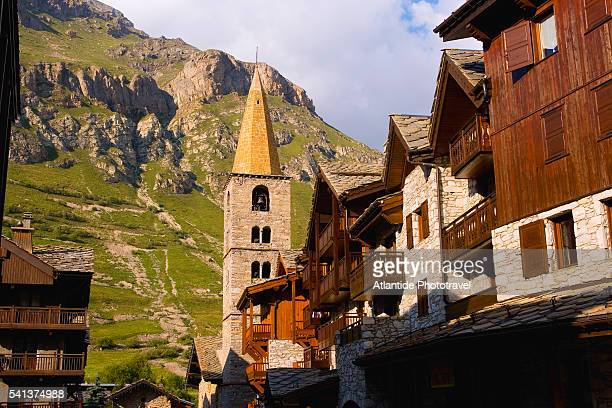 chalets and the church of st. bernard de menthon - savoie stock pictures, royalty-free photos & images