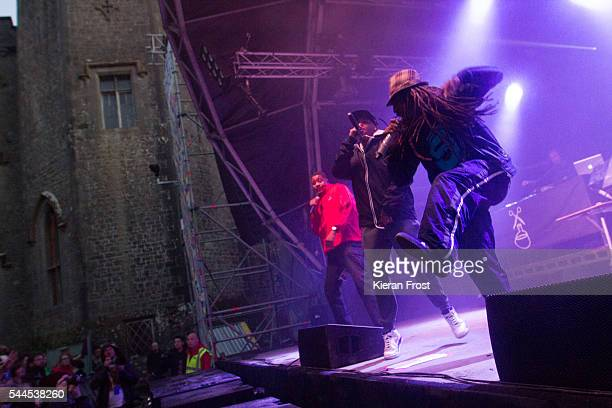 Chali 2na, Marc7 and Akil of Jurassic 5 performs at CastlePalooza at Charville Castle on July 2, 2016 in Tullamore, Ireland.