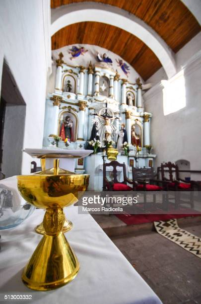 chalice in cachi´s church, in salta province, northern argentina. - radicella stockfoto's en -beelden