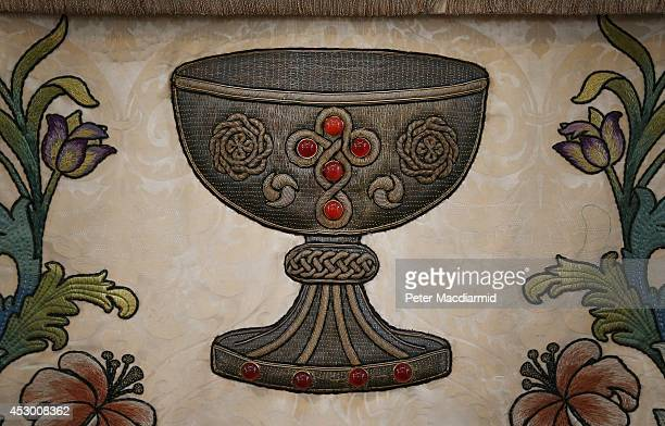 A chalice is shown on an historic embroidered alter frontal displayed at St Paul's Cathedral on August 1 2014 in London England The altar frontal...
