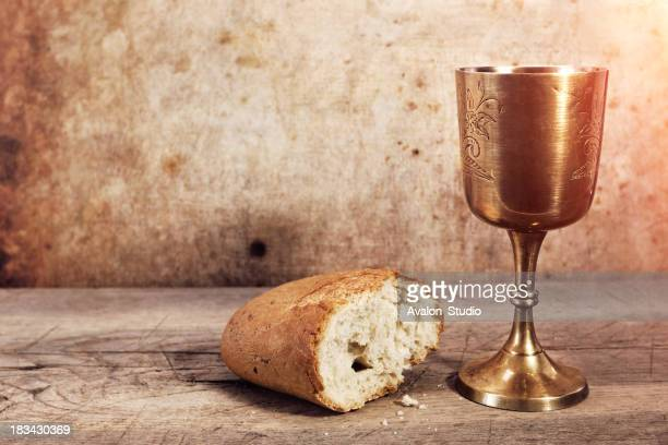 Chalice with wine and bread.