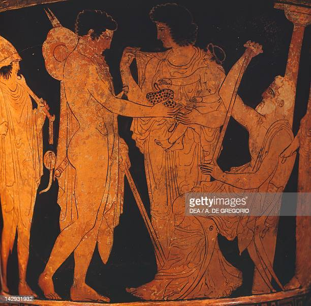 Chaliceshaped attic krater showing satyrs and maenad redfigure pottery from Apollonia in Illyria Albania Greek Civilization 4th Century BC Tirana...