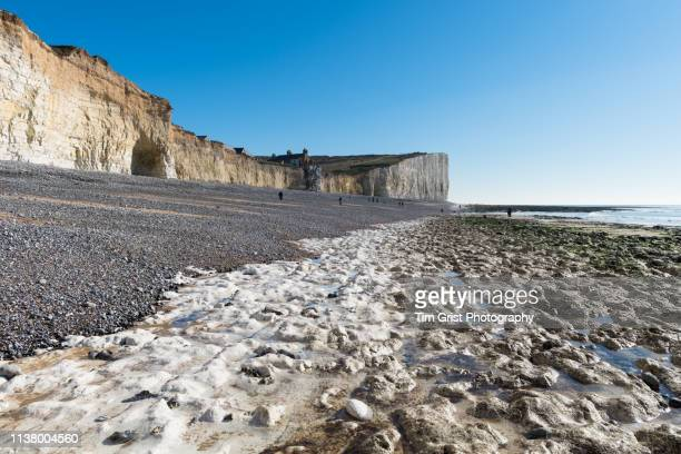Chalk Bedrock Beach and the Seven Sisters Cliffs, Birling Gap, East Sussex, UK