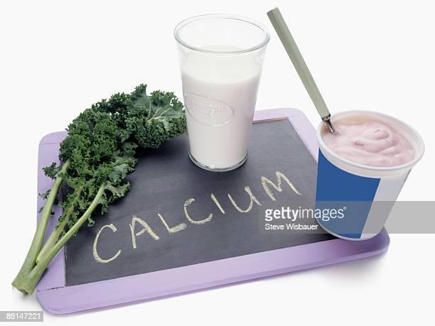 Chalk board with Calcium, kale, milk and yogurt