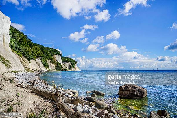 chalk cliff coast jasmund national park rã¼gen - 炭酸石灰 ストックフォトと画像