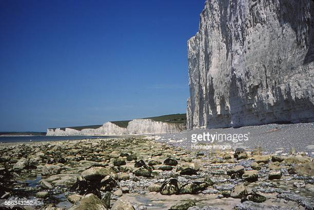 Chalk Cliffs and Beach looking West Birling Gap Sussex 20th century Birling Gap is a Sand shingle beach located near Eastbourne in East Sussex It is...