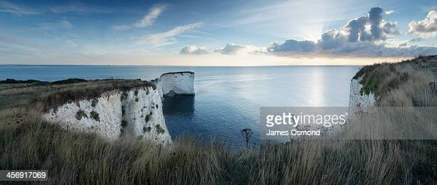 chalk cliffs and sea stacks - 炭酸石灰 ストックフォトと画像