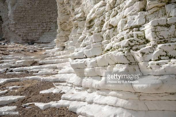 Chalk cliffs at North Landing, Flamborough Head, North Yorkshire.